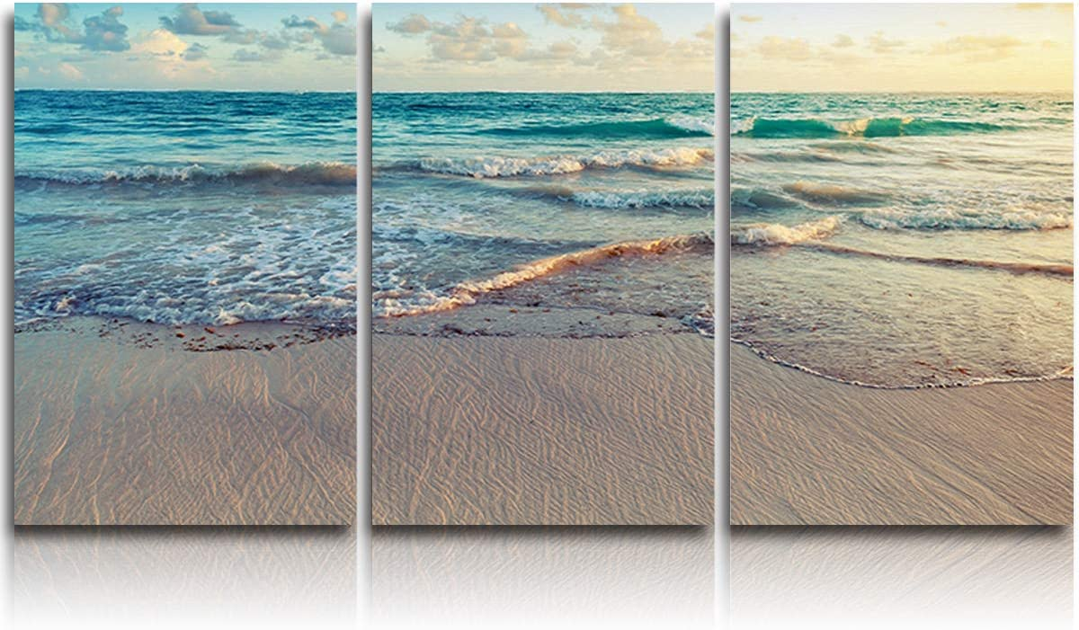 Amazon Com 3 Piece Canvas Wall Art Oil Painting Beach Sunrise Seascape Morden Artwork Picture Prints Blue Sea Clear Ocean Wave Stretched And Framed Ready To Hang For Living Room Office Bedroom 12x16inchx3