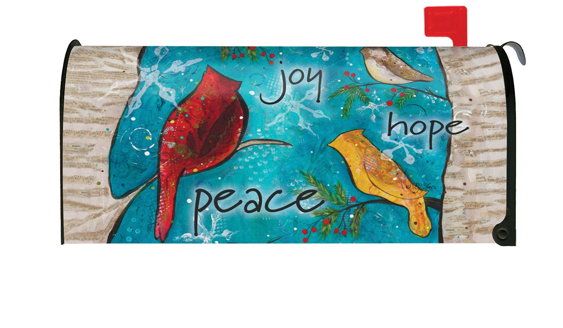 Toland Home Garden Peace Birds Winter Snowflake Bird Joy Hope Magnetic Mailbox Cover