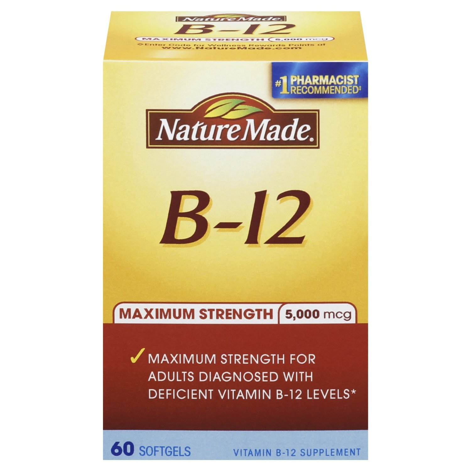 Nature Made Maximum Strength Vitamin B-12 Soft gel, 5000 mcg 60 Count Pack of 2
