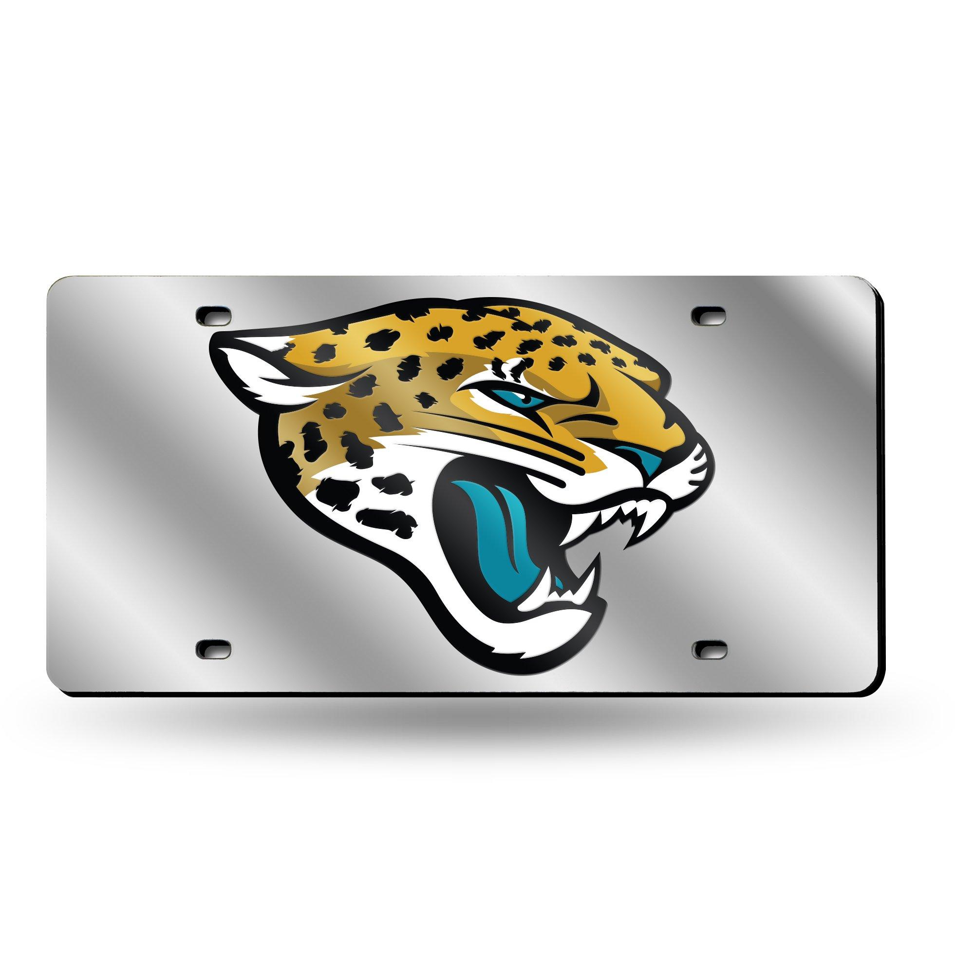 Rico Industries NFL Jacksonville Jaguars Laser Inlaid Metal License Plate Tag, Silver