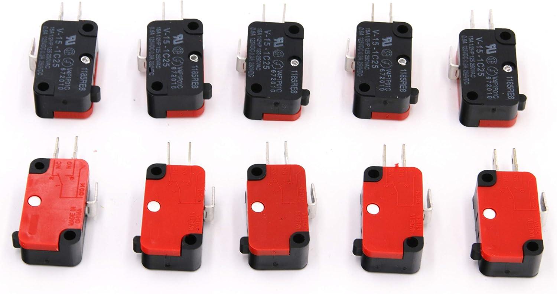 RuoFeng - Interruptor de microondas para puerta de horno (10 unidades, 125 V/250 V, 16 A, con botón de cerezo SPDT 1 NO 1 NC, micro interruptor V-15-1C25)