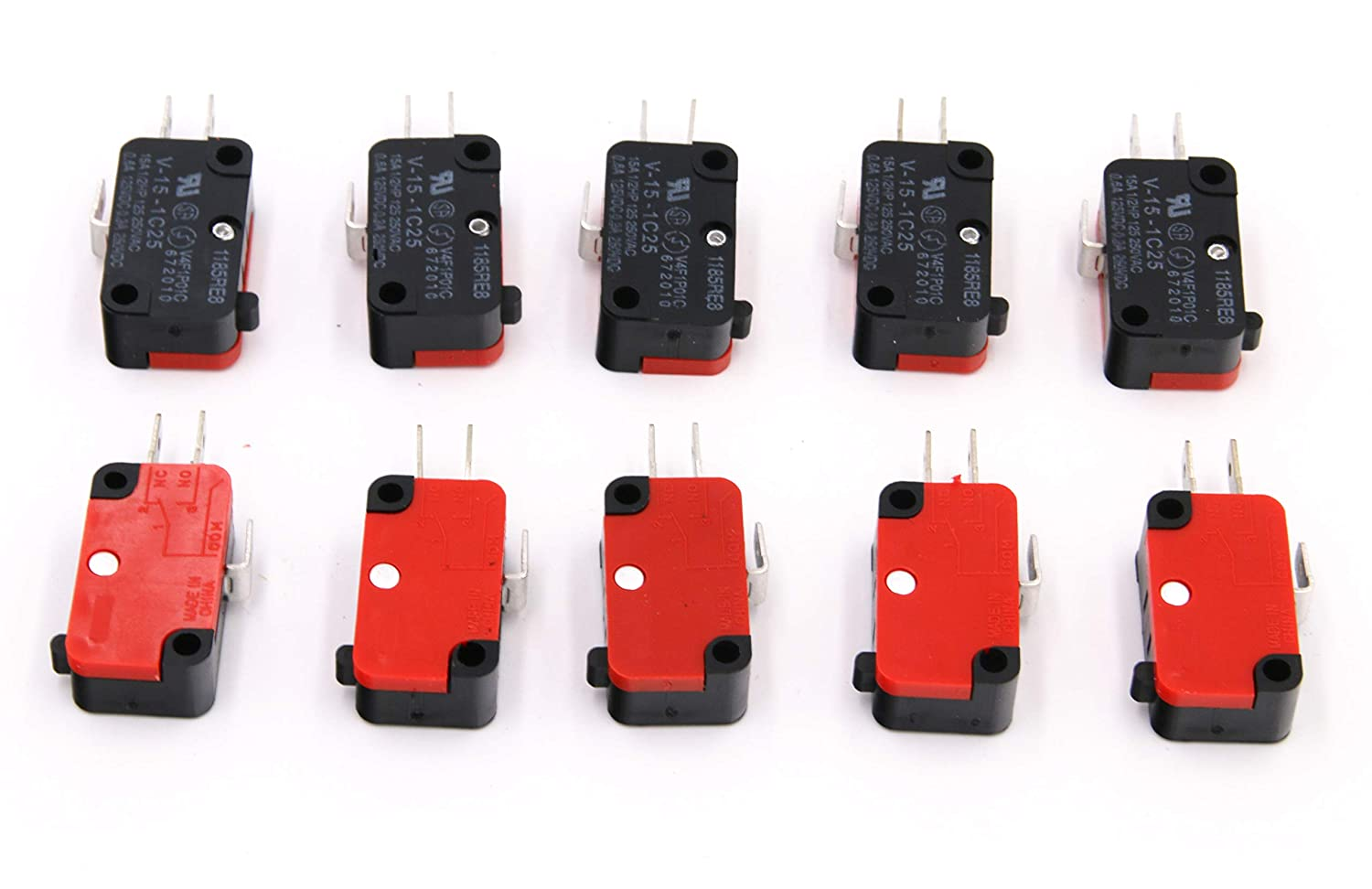 RuoFeng 10Pcs 125V/250V 16A Microwave Oven Door Arcade Cherry Button SPDT 1 NO 1 NC Micro Switch V-15-1C25 Limit Switch
