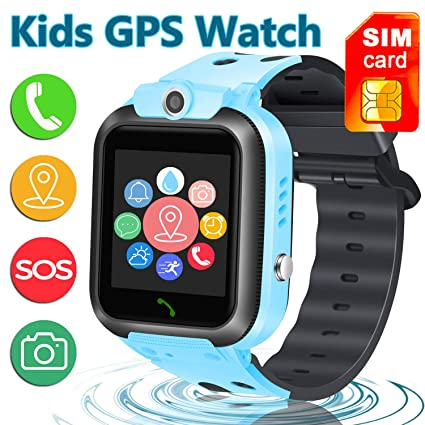 [SIM Card Included] Smart Watch Phone for Kids, IP68 Waterproof Smartwatch with LBS/GPS Tracker Phone SOS Alarm Clock Flashlight Birthday Gift for ...