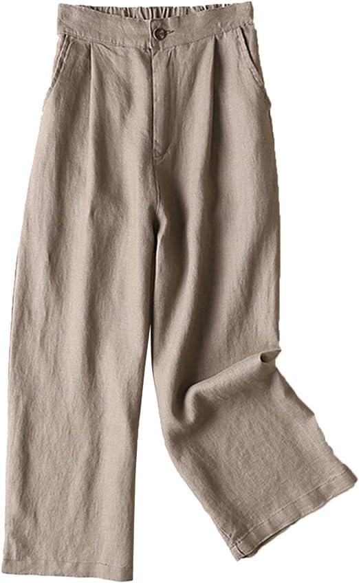 Aeneontrue Women's 100% Linen Wide Leg Pants Capri Trousers Back with Elastic Waist