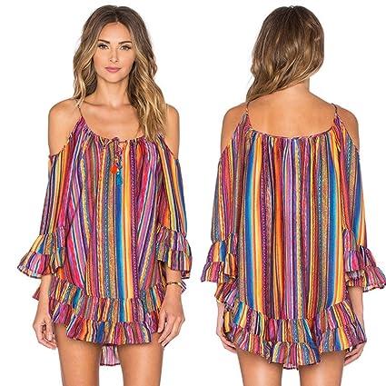 47690507b4168 Snowfoller Women Summer Rainbow Striped Print Short Mini Dress Loose  Chiffon Strap Dress Sexy Off Shoulder