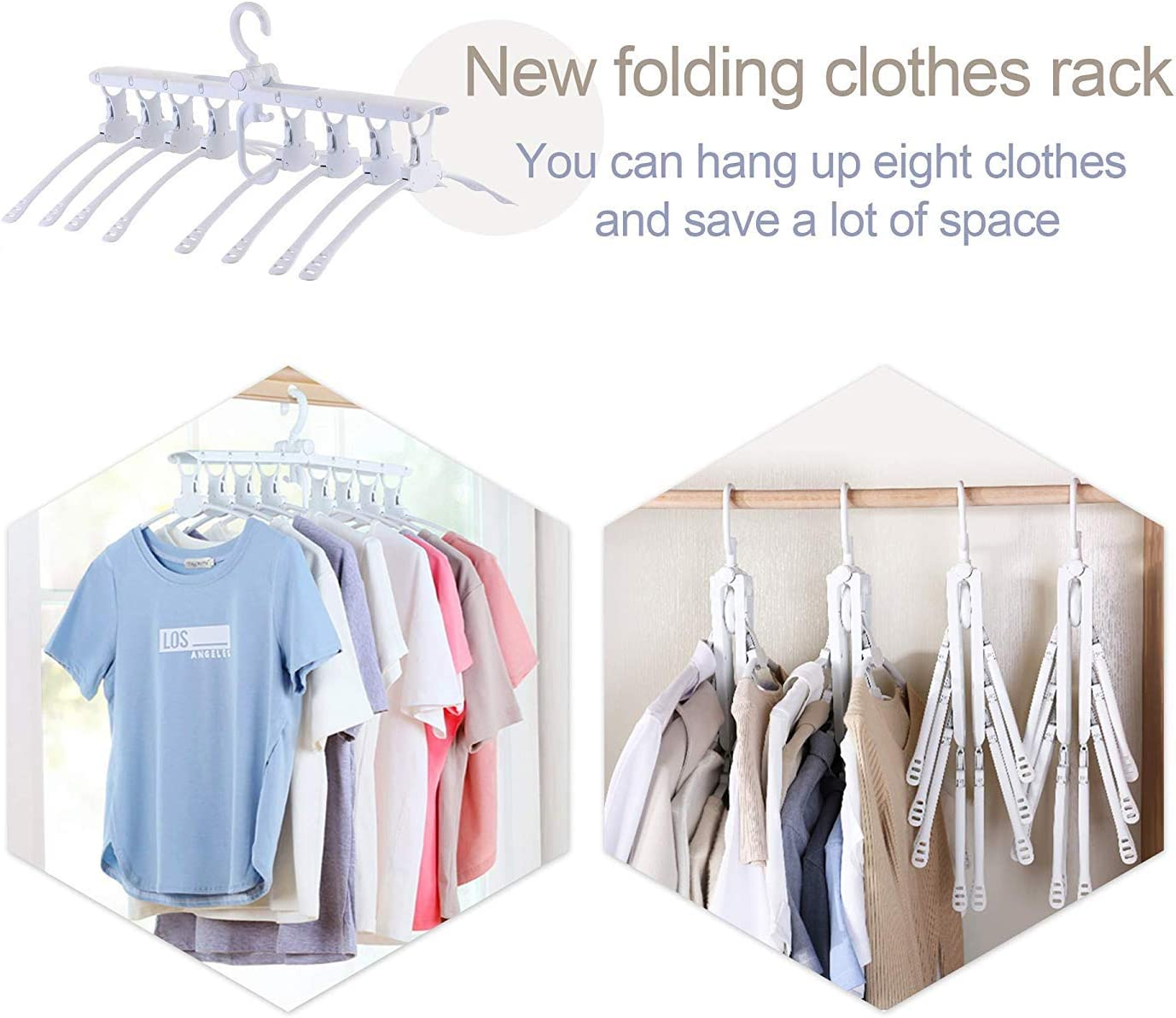Non Slip Plastic 8 in 1 hangers Wardrobe Space Saver Hanging Organizer Nifty Essentials Space Saving Hangers for Shirts Clothes