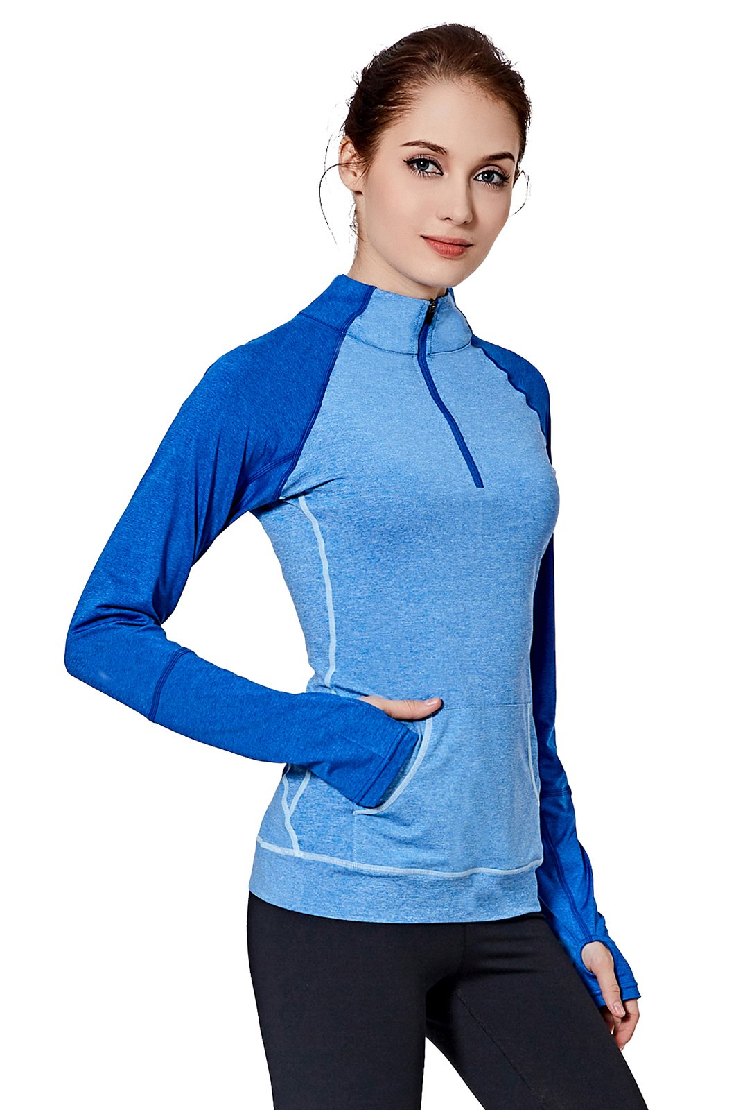 Cityoung Women Yoga Long Sleeves Half Zip Sweatshirt Girl Athletic Workout Running Jacket (M, Blue) by Cityoung