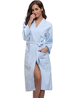 ffd1cf2a48 Aibrou Unisex Waffle Dressing Gown Cotton Lightweight Bath Robe for All  Seasons Spa Hotel…