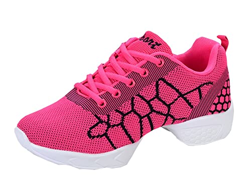 VECJUNIA Damen Athletische Turnschuhe Bequeme Modernen Leichte Mesh Sneakers  Atmungsaktiv Jazz Dance Schuhe Rot 36 4d87376f20