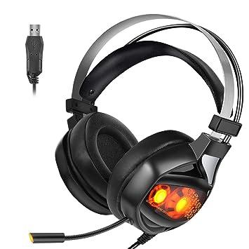 Auriculares Stereo Gaming de Ranipobo, 7.1 Auriculares USB de Sonido Envolvente con cancelación de Ruido