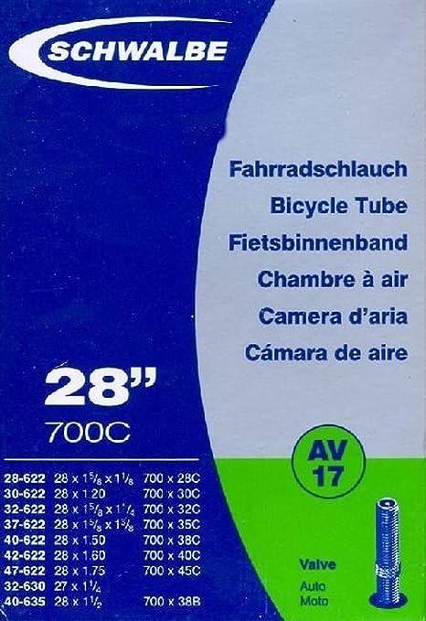 """2 Schwalbe Fahrrad Schlauch AV 17 Autoventil 28/"""" NEU"""