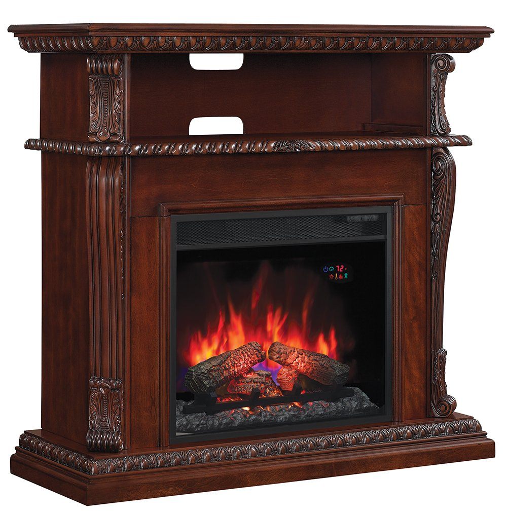 Classic flame belmont 60 quot tv stand with electric fireplace - Amazon Com Classicflame 23de1447 C233 Corinth Wall Or Corner Tv Stand For Tvs Up To 47 Vintage Cherry Electric Fireplace Insert Sold Separately Home