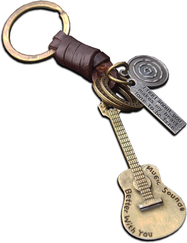 Seraphis Guitarra Llavero Cuero Llavero M/úsica Rock Regalo M/úsico Hombres Colgante