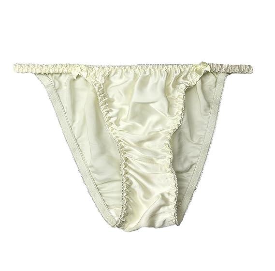 354526a662 LSHARON Women s Sexy 100% Mulberry Silk Thong G-string Lingerie Underwear  Briefs Panties (