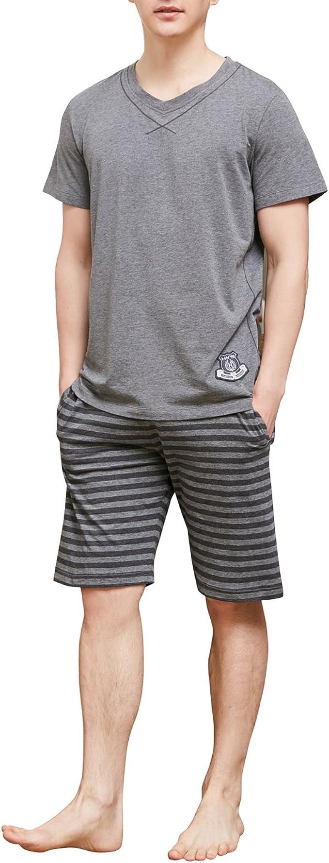 Summer Men Pajamas Set Cotton Soft Comfortable  Short Sleeve Sleepwear Print