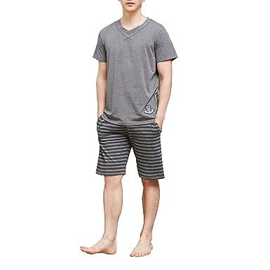 fd8980627f74 HACAI Men's Pajama Set Soft Cotton Plaid Short Sleeve Summer Sleepwear Grey  L