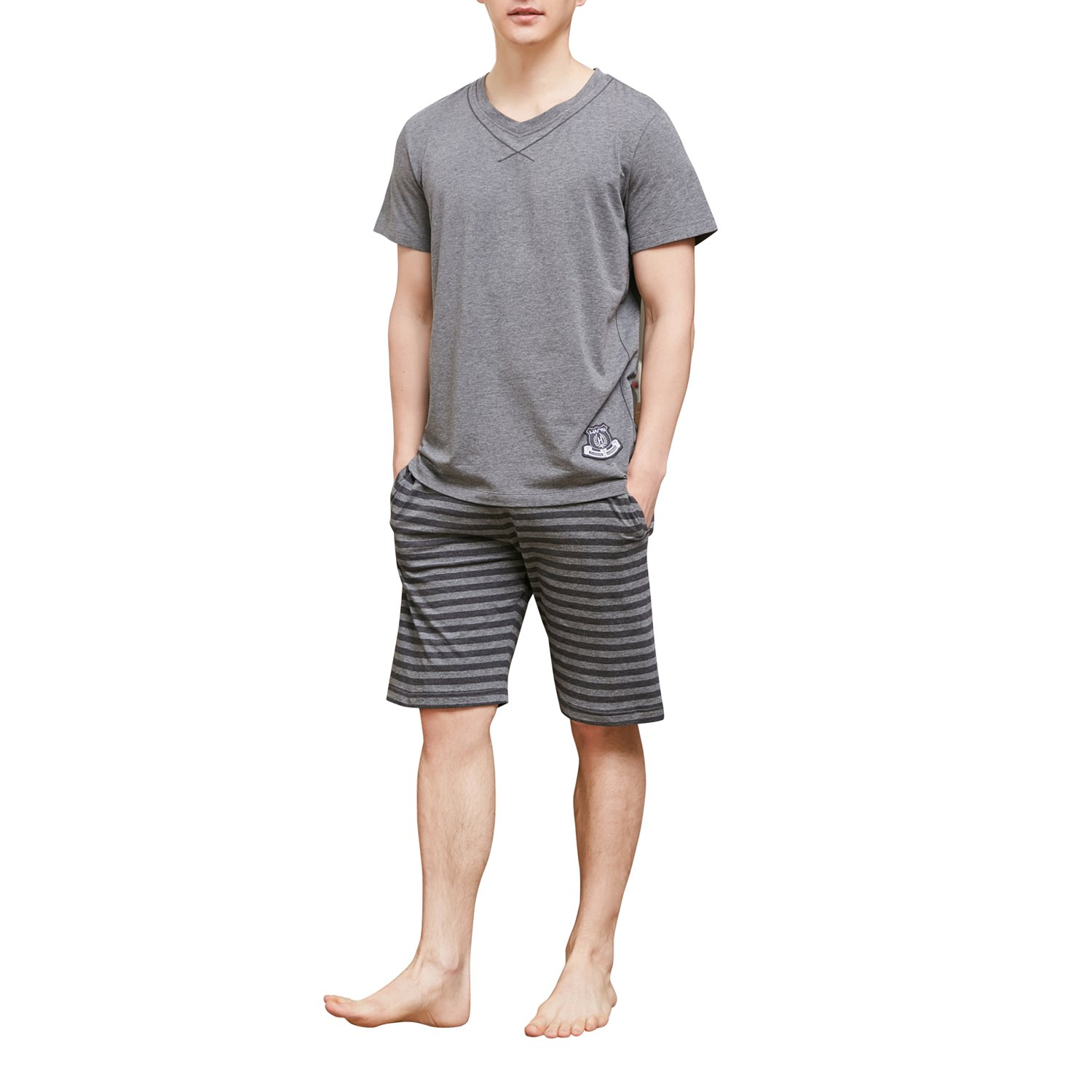 HACAI Men's Pajama Set Soft Cotton Plaid Short Sleeve Summer Sleepwear Grey S