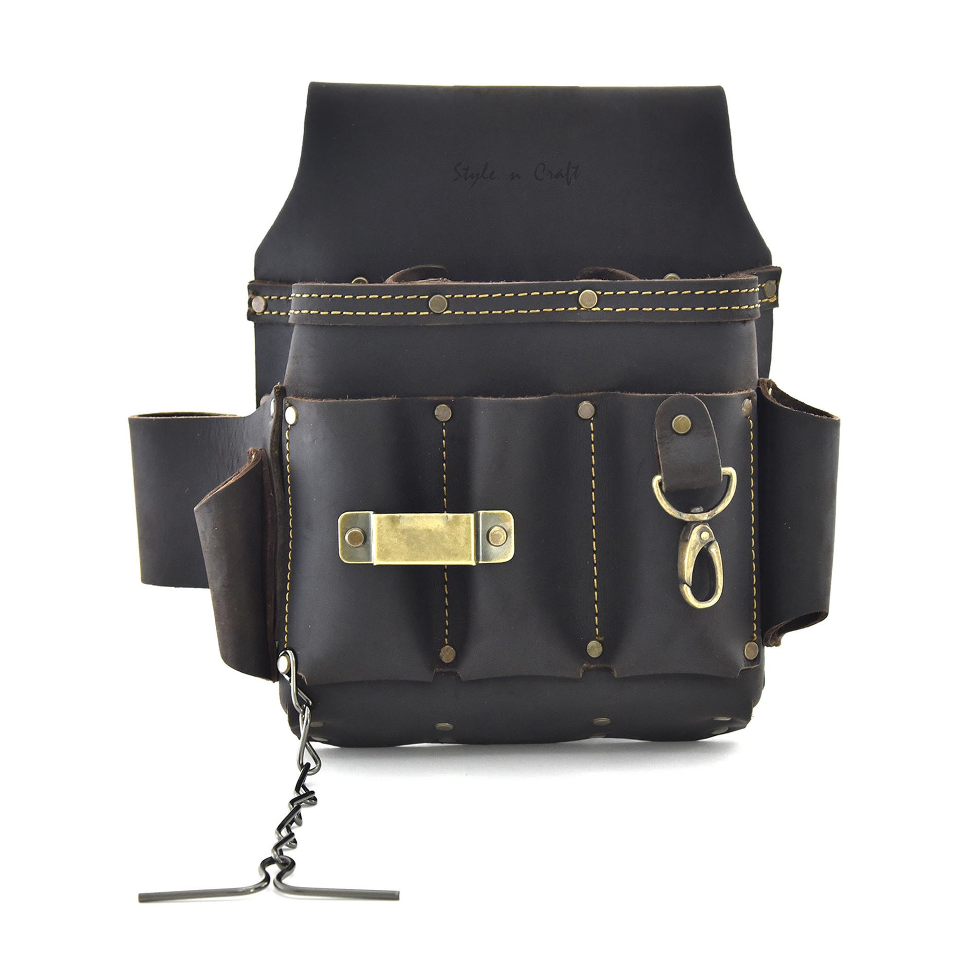 Style n Craft 70-603 10 Pocket Heavy Duty Oiled Top Grain Leather Electrician's/Contractor's Tool Pouch