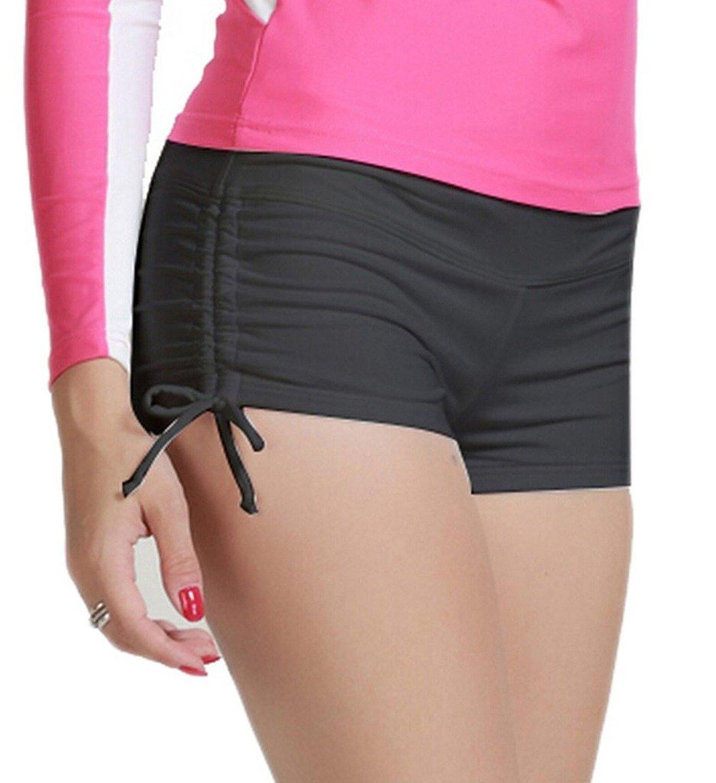MiYang Women's Solid Black Beach Pant Bikini Bottom Adjustable Tie Boy Short S (Waist 26''-28.5'') by MiYang (Image #2)