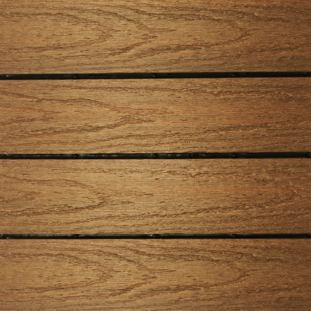 NewTechWood US-QD-ZX-TK Ultrashield Naturale Outdoor Composite Quick Deck Tile (10 Case), 1' x 1', Peruvian Teak