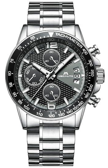 Relojes Hombre Acero Inoxidable Relojes de Pulsera de Lujo Moda Cronometro Impermeable Fecha Calendario Analogicos Cuarzo Reloj Negocio Casual Cronógrafo ...