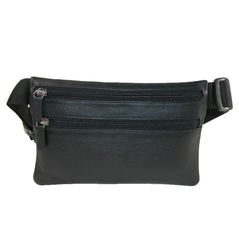 CTM Leather Zippered Pocket Waist Pack Black
