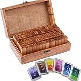 Vintage Wooden Rubber Letter Number Stamp Set + Colorful Ink Pad - Multipurpose DIY Diary Cards Stamps Craft, 70 pcs Alphabet Letter Number Symbol ( KIDS) (70 pcs + 6 color ink pad)