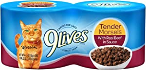 9Lives Tender Morsels With Real Beef In Sauce Wet Cat Food, 4 / 5.5Oz Cans, 6 Pack