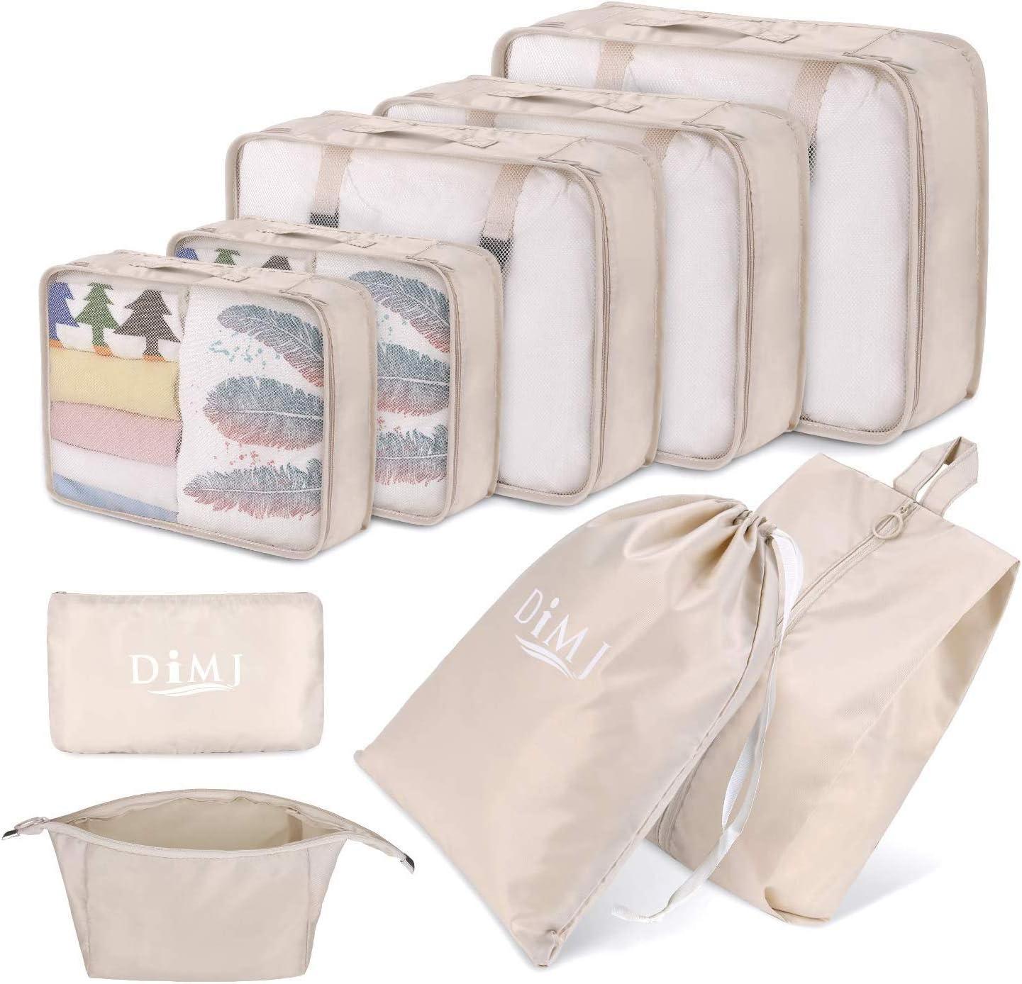 DIMJ Lot de 9 Organisateurs de Bagage Voyage Imperméable Organisateurs de Valise Grand Sac de Rangement Valise pour Les Vêtements, Chaussures,
