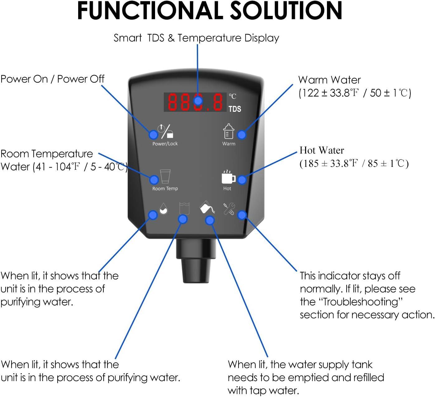 SimPure - Dispensador de agua sin botones, purificador de agua RO multifunción con sistema de filtración de agua de 5 etapas, sin instalación, diseño de botón táctil ...