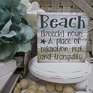 DONL9BAUER Beach (Noun) A Place of Relaxation Wood Sign,Rest and Tranquility Beach Themed Room Wood Wall Decor Sign, Wooden Plaque Art for Home,Office,Gardens, Coffee Shop,Porch, Gallery Wall.