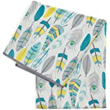 Bumkins Splat Mat, Waterproof, Washable for Floor or Table, Under Highchairs, Art, Crafts, Playtime – Feathers