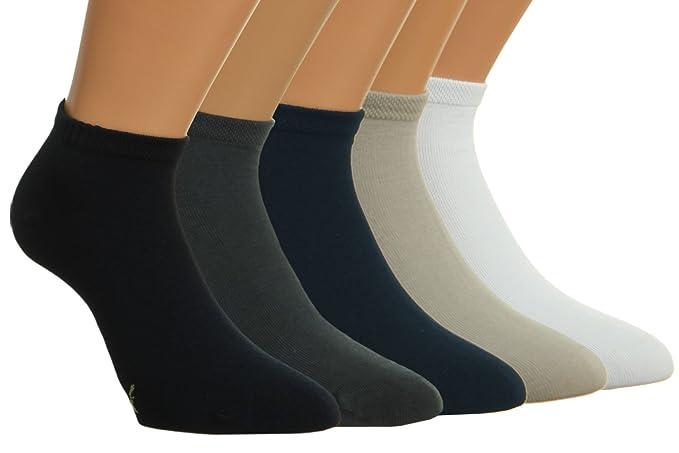 Vitasox Calcetines tobilleros de bambú, unicolor, calcetines de bambú, de señora y de caballero, sin costura, lote de 6: Amazon.es: Ropa y accesorios