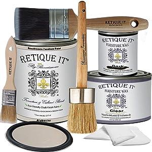 Retique It Chalk Furniture Paint by Renaissance Deluxe Starter Kit, Wax, 11 Alabaster, 32 Ounces