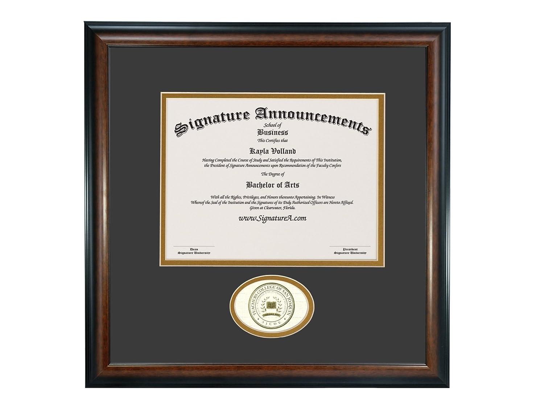 Signature Announcements Undergraduate Professional//Doctor Sculpted Foil Seal Graduation Diploma Frame 16 x 16 Matte Mahogany