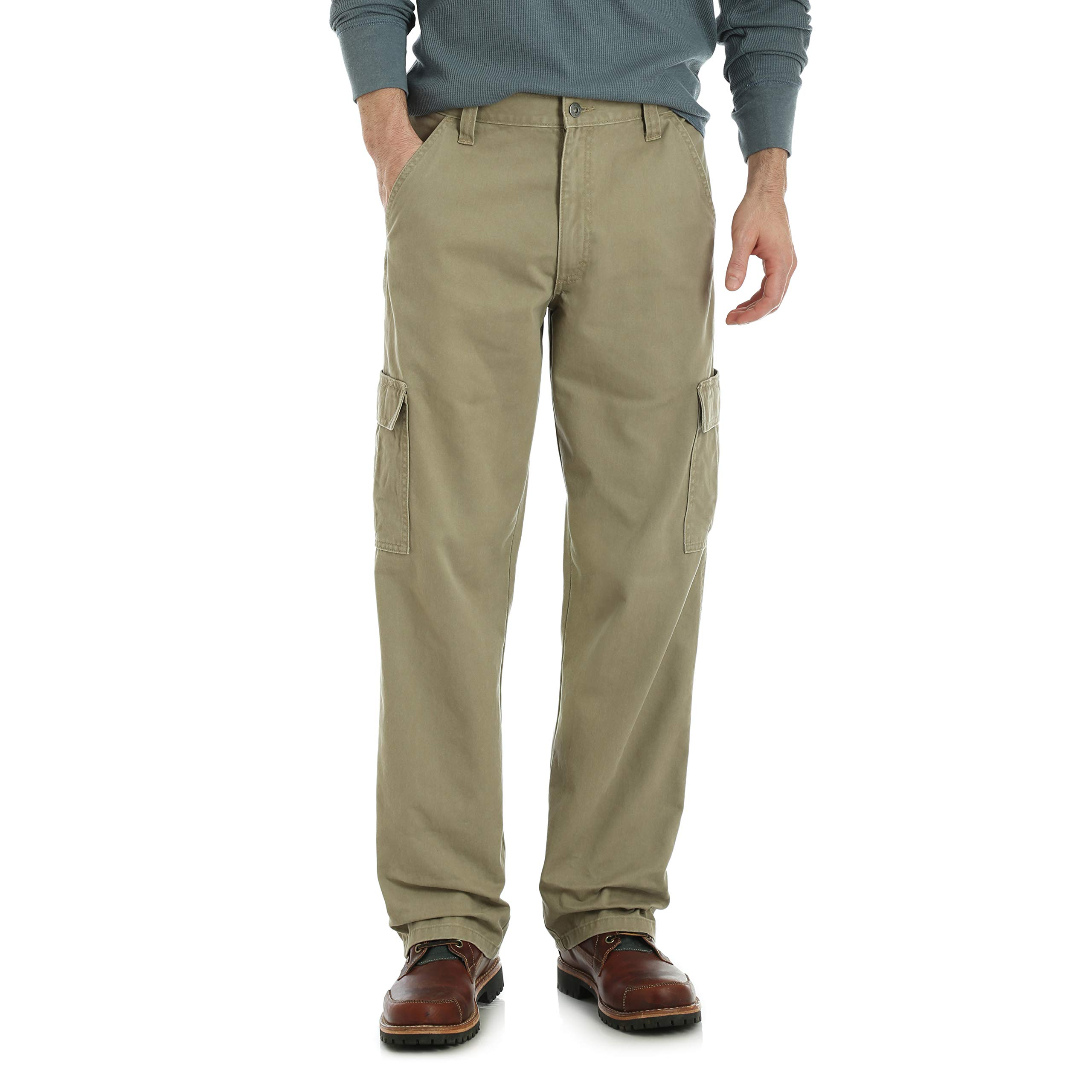 Wrangler Men's Authentics Classic Cargo Pant, British Khaki Twill, 36W x 32L