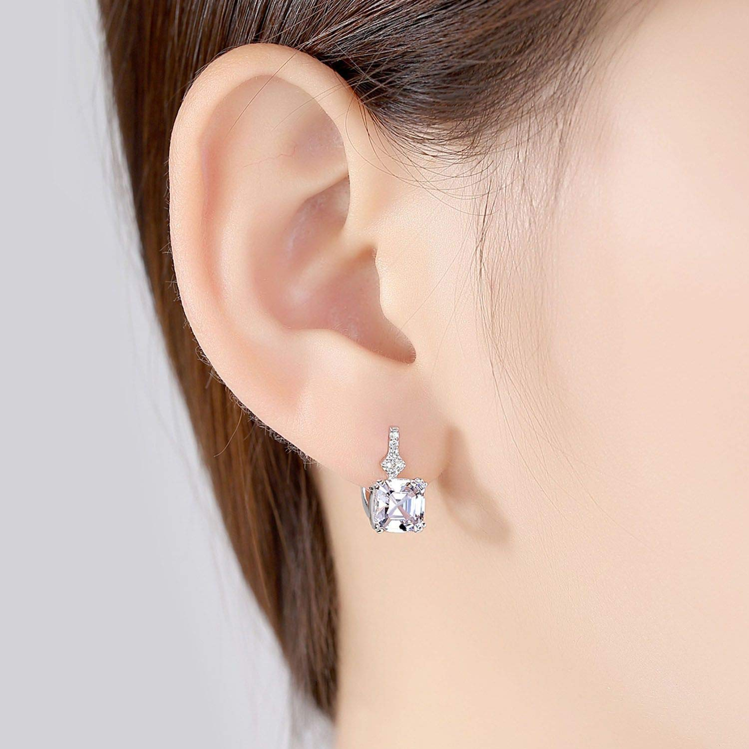 Silver Stud Earring Smoke Color Or White Silver Earring Jewelry For Women Daily