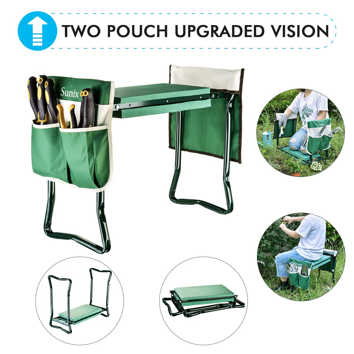 Garden Kneeler And Seat With 2 Bonus Tool Pouches – Portable Garden Bench EVA Foam Pad With Kneeling Pad for Gardening – Sturdy, Lightweight And Practical – Protect Knees And Clothes When Gardening