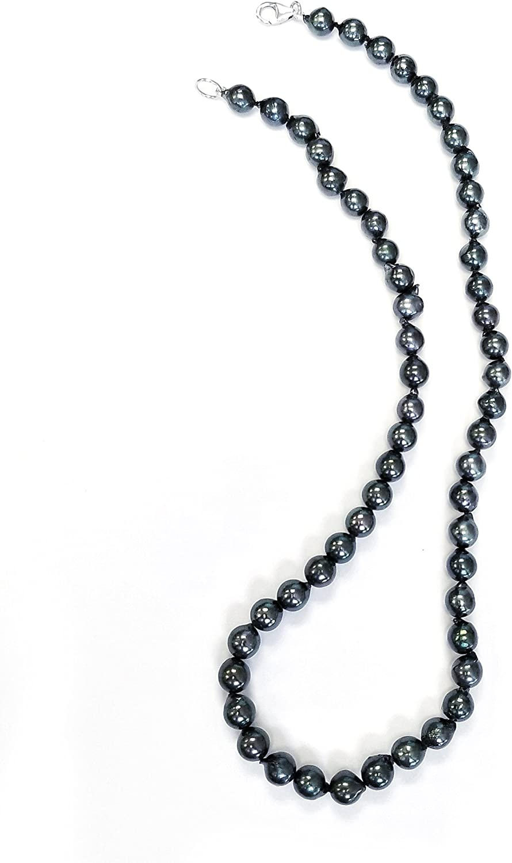 Regalia by Ulti Ramos 7-8mm Black Akoya Baroque Pearl Necklace .925 Sterling Silver