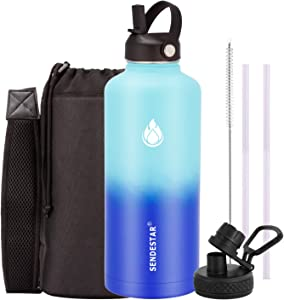 SENDESTAR Stainless Steel Water Bottle,2 or 3 Lids(18 oz, 24oz,32 oz,40 oz or 64oz),Double Wall Vacuum Insulated Leak Proof, Wide Mouth Water bottle with Straw Lid (87 oz, 87 oz-Mint/Cobalt (2 LIDS))