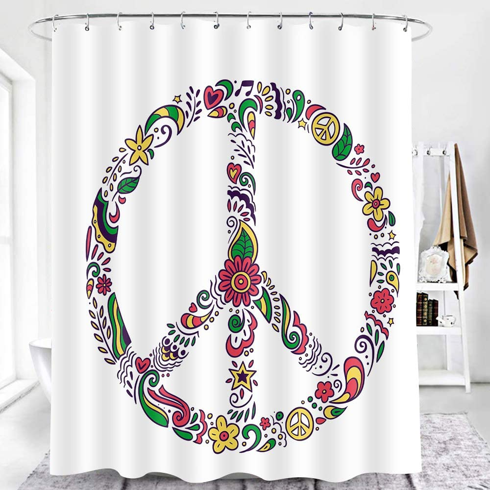 EARVO Love and Peace Theme Shower Curtain Floral Sign Groovy Pattern Concise Art Print for Art Home Decor Bath Sets with Hooks Durable Polyester 60x72 inches EADS1120-60
