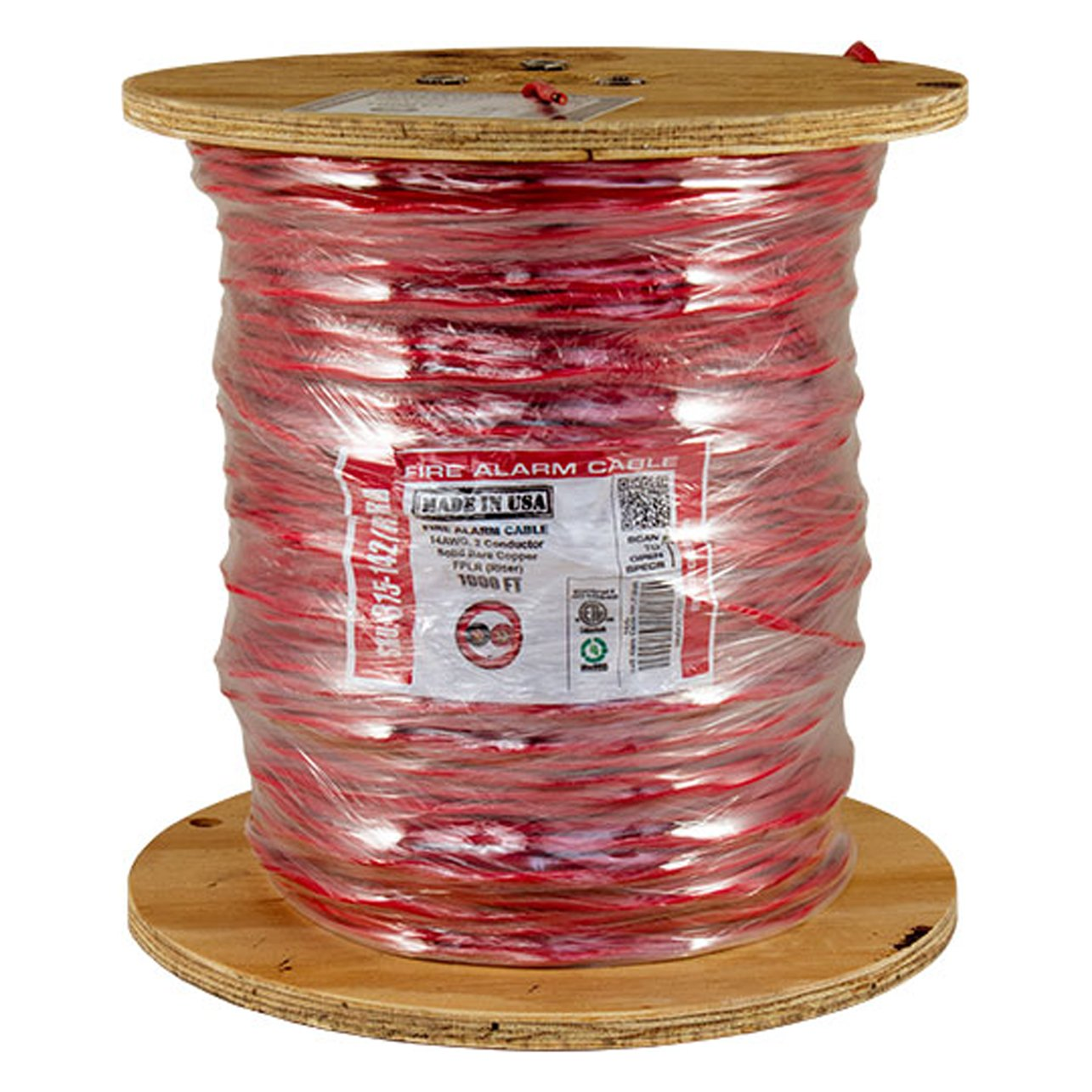 Vertical Cable Fire Alarm Cable, 14 AWG, 2 Conductor, Solid, Unshielded, FPLR (Riser), 1000ft Spool, Red - Made in USA