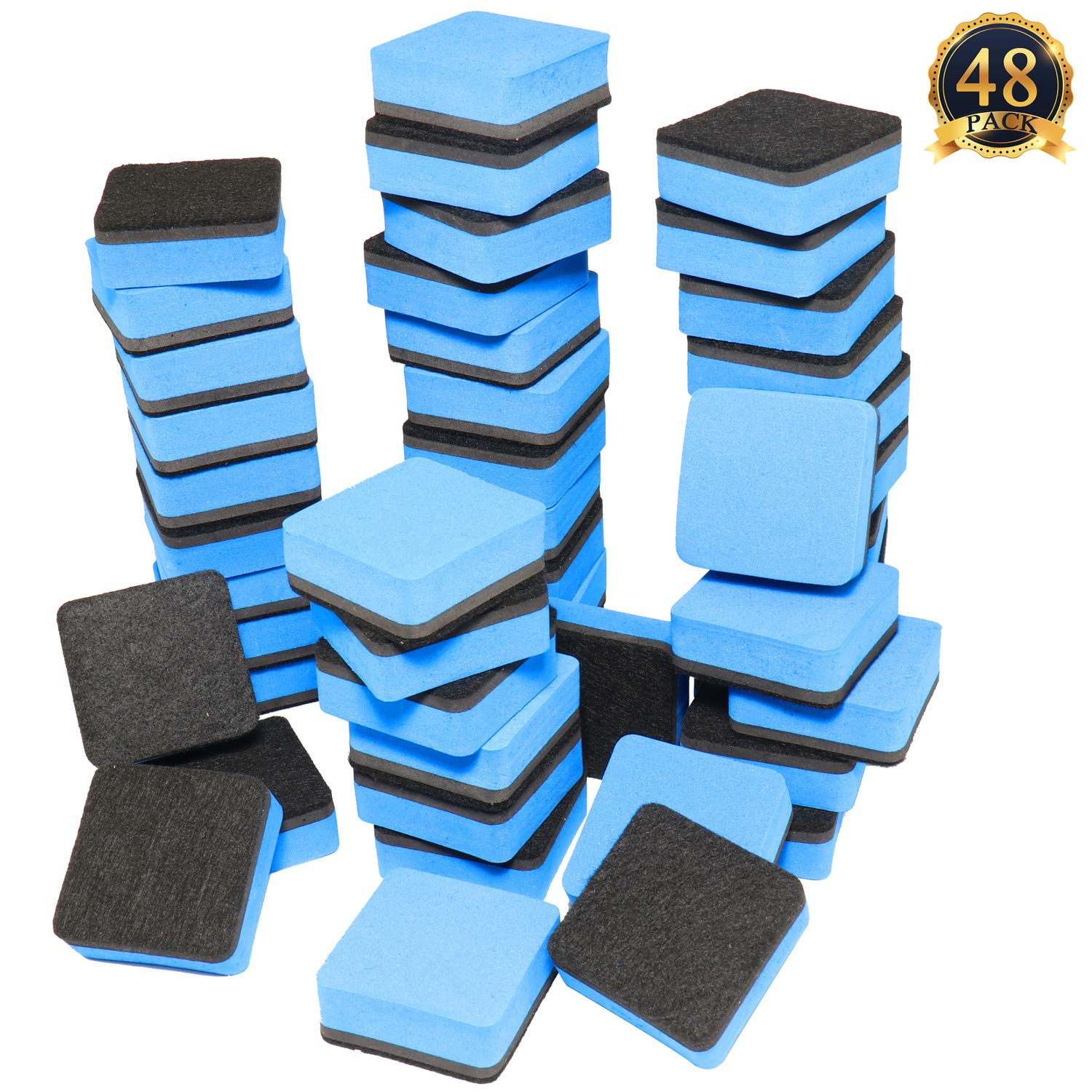 SUBANG 48-Pack Magnetic Whiteboard Eraser Magnetic Dry Erasers Bulk Chalkboard Cleansers Wiper for Kids, Home, School, and Office (Blue, 1.97 x 1.97inch)