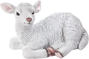 """Fox Valley Traders Miles Kimball Waterproof Resin Lamb Statue, 12"""" L x 8"""" H – Outdoor/Indoor Use, Hand-Painted"""