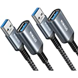 USB 3.0 Extension Cable 2 Pack[3.3ft + 6.6ft], NIMASO USB A Male to Female Extension Cord Durable Material Fast Data Transfer