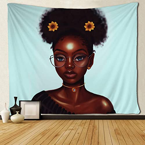 SARA NELL Black Girl Wall Tapestry Hippie Art African American Girl Hair with Sunflower Tapestries Wall Hanging Throw Tablecloth 60X90 Inches for Bedroom Living Room Dorm Room