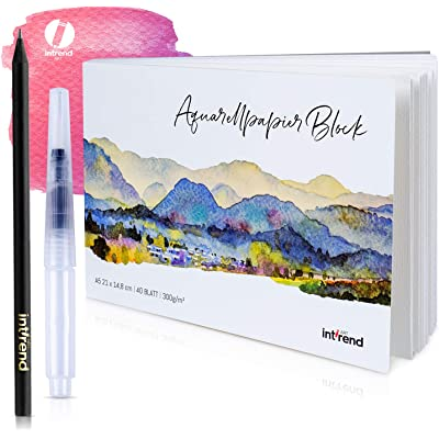 INT!REND Bloc papel de dibujo | Cuaderno para acuarelas, 40 hojas, 300 g, DIN A5, con un lapíz y pincel de agua acuarela | Watercolor paper block, cuaderno lettering, bosquejos
