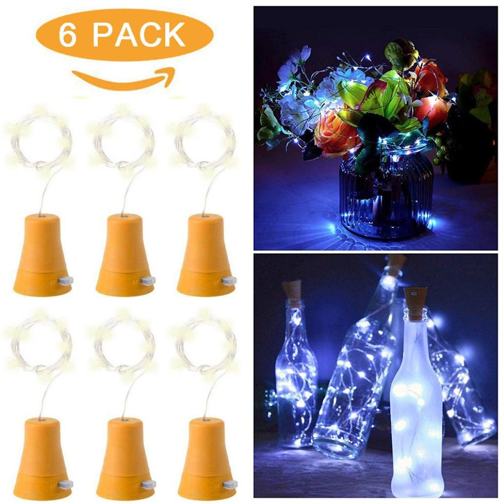 H+K+L 6pcs Solar Powered 10 LED Copper Wire Night Fairy Waterproof Cool White Wine Bottle Lights (Yellow)