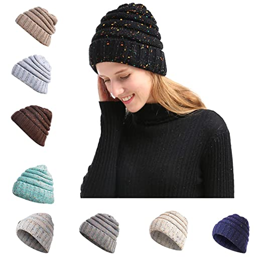 8ccde178 NeuFashion Beanie Tail Hats Ponytail Beanie Hats Messy High Bun Knit  Beanies Warm Winter Chunky Skull Cap