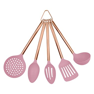 COOK With COLOR 5 Piece Blush Nylon Cooking Utensil Set on a Ring with Rose Gold Copper Handles
